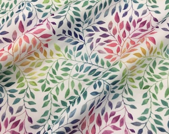 PUL fabric watercolor leaves