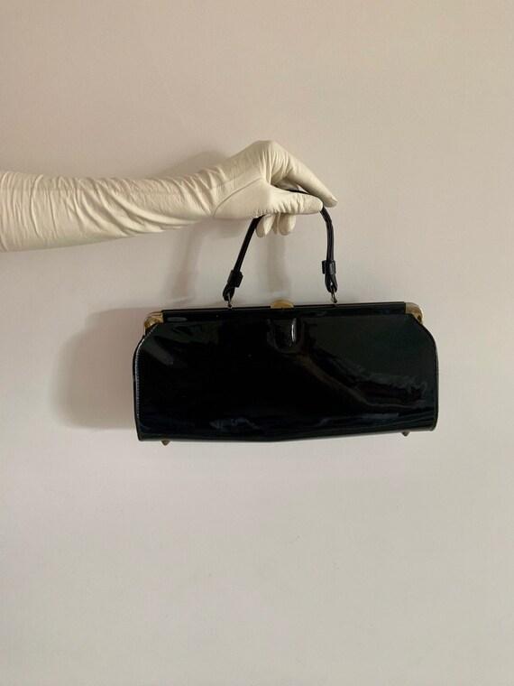 Vintage 50s/60s Black Patent Leather Bag