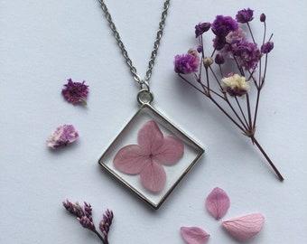 Real Purple Flower Diamond shape Necklace