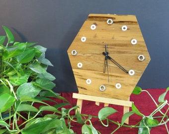 Reclaimed Pecky Cypress Wood Clock, Hexagon