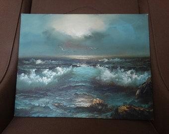 Claude Terray Original Oil on Canvas Seascape