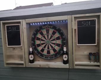 Indoor/outdoor dart board cabinet