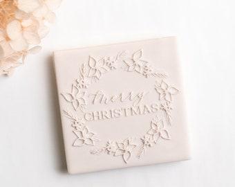 Christmas Poinsettia Wreath stamp