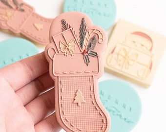 Present stocking stamp with matching cutter