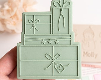 Presents stack stamp with matching cutter