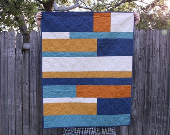 Modern Stripes Handmade Baby Quilt