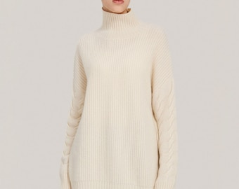 Oversized Cashmere Turtleneck Sweater/ Warm and Cuddly Women's Top/ Exceptional Quality