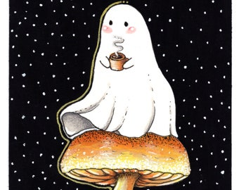 Tea Ghost   4x6 HALLOWEEN ART PRINT