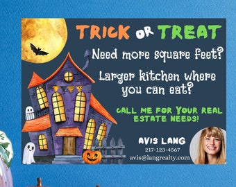 Real Estate mailer card, Autumn season mailer, Fall pop by, client mailer, Halloween client mailer, Real Estate Agent unique, witch realtor