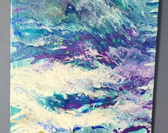Mermaid: Abstract fluid canvas art- one of a kind, long lasting designs. 16x20in. Paint pouring fluid painting artwork