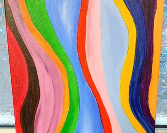 Rainbow Sound: Abstract canvas art- one of a kind, long lasting designs. 16x20in. Paint pouring fluid painting artwork