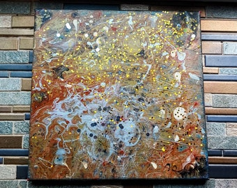 Disco drip: Abstract fluid canvas art- one of a kind, long lasting designs. 12x12in. Paint pouring fluid painting artwork