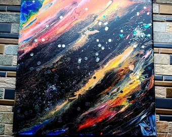 Stargazer: Abstract fluid canvas art- one of a kind, long lasting designs. 12x12in. Paint pouring fluid painting artwork