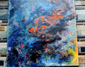 Spacegazer: Abstract fluid canvas art- one of a kind, long lasting designs. 12x12in. Paint pouring fluid painting artwork