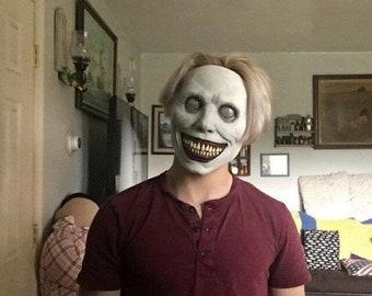 Halloween Horror Mask- Exorcist Smile White Face and White Eyes Demon Mask- Tricky Mask- Dress Up Mask-Demon Mask