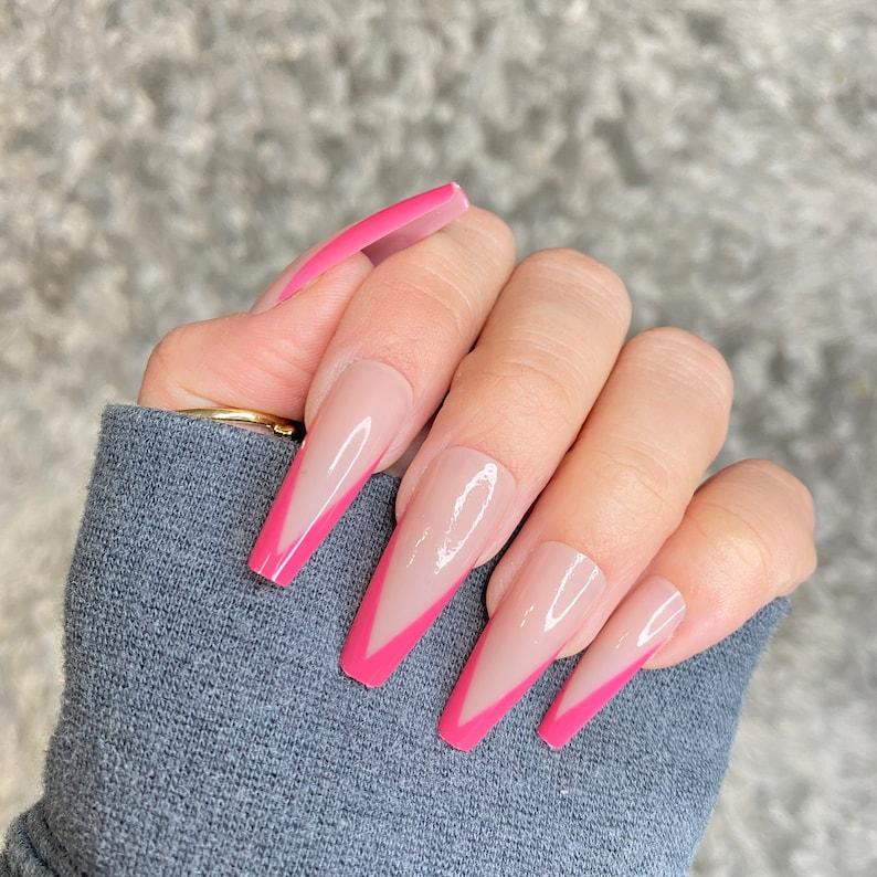 Pink French V-Shape Long Coffin Nails Long Press On Nails 24 image 0