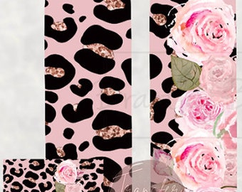READY TO PRESS 20 Ounce Tumbler Sublimation Transfer Leopard & Pink Roses