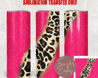 READY TO PRESS 20 Ounce Tumbler Sublimation Transfer Hot Pink Leopard Geode