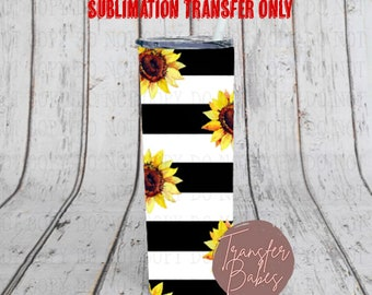 READY TO PRESS 20 Ounce Tumbler Sublimation Transfer Striped Sunflower