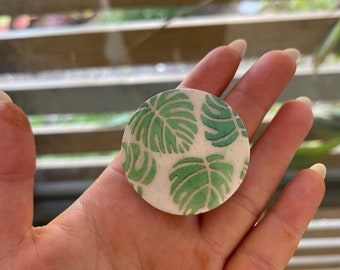 Metallic Monstera Phone Grip | Hand Crafted Clay Phone Grip | Polymer Clay | Phone Grip | Phone Accessories