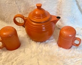 Persimmon Fiesta Ware Enamel Metal Tea Pot and Oven-top Salt and Pepper Shakers