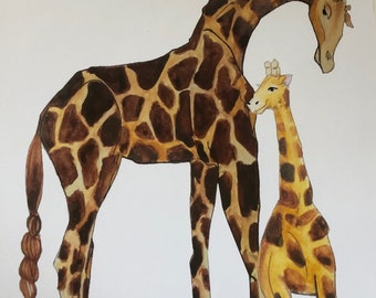 Giraffe and baby - hand illustrated original artwork in prints- A4