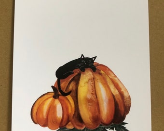 Sleeping in a pumpkin patch - A6 print - hand drawn in watercolour and ink. A beautiful print or postcard to a loved one