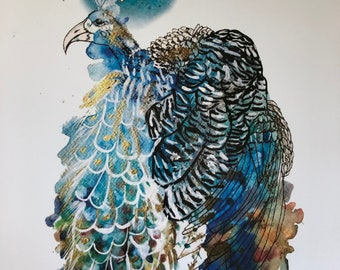 Peacock- original artwork, hand illustrated and painted print- A4