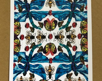 Many, many bugs - A6 print - hand drawn in watercolour and ink. A beautiful print or postcard to a loved one