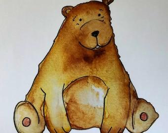 Golden Teddy Bear- Hand illustrated original drawing -A4