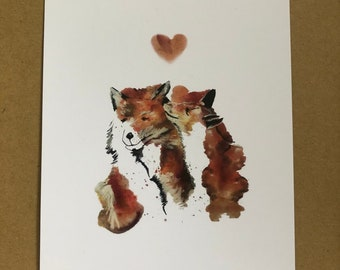 Fox love A6 print - hand drawn in watercolour and ink. A beautiful print or postcard to a loved one