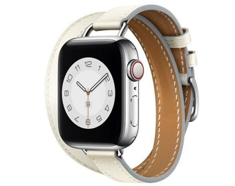 Hitch Genuine leather Dual Tour strap for Apple Watch 40mm 44mm 42mm 38mm for iWatch series 3 4 5 6 SE ,Hand made  leather strap