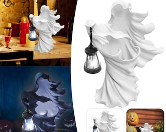 Hell Messenger With Lantern Ghost Seeking Light Witch Resin Statue Realistic Ghost Sculpture Halloween Ornament Decorative Lamp