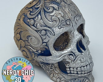 Deluxe Sugar Skull - 3D Printed and Hand Painted