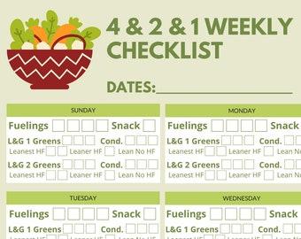 4-2-1 Weekly Checklist 7 printable set
