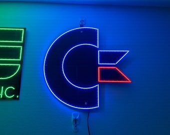 """Commodore logo LED sign. Bright, multicolor, nearly 10"""" wide! 662 LED's"""