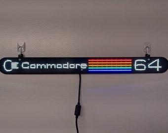 """Commodore 64 label LED sign. Bright, multicolor, 18"""" wide!"""