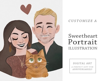 Sweetheart Couple Illustration   Cute + Simple Style   Custom Portrait Art   Cute Couple Portrait   Custom Anniversary Gift   Holiday Card