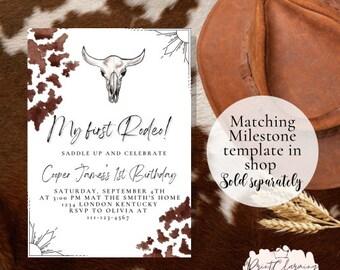 My First Rodeo Birthday Invitation, Western First Birthday Invitation, Digital, Instant Download, Wild West Birthday Invitation, Printable