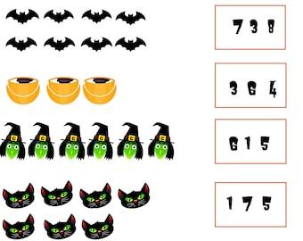 Halloween Kindergarten - Count and Recognize Printable
