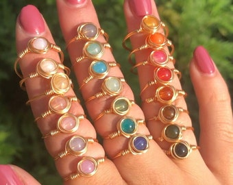 Rings with stone bead | Wire ring | Silver ring | Gold ring |
