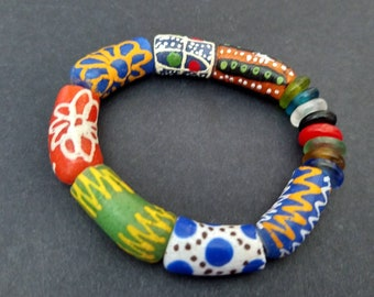 African Recycled Glass Krobo Bracelet, Stretchy, Small Gift for Her,