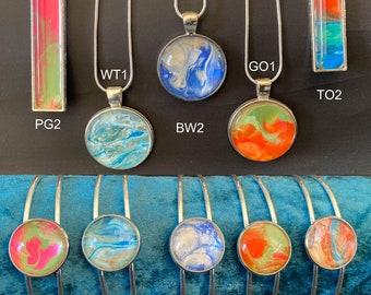 Art Jewellery, Cuff Bracelet, Bangle + Handmade Painted Pendant, Unique Gift