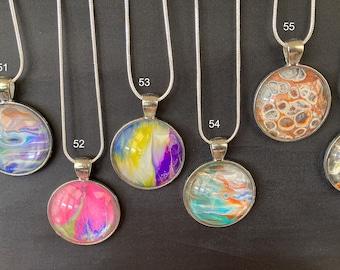Handmade Painted Pendant + Necklace, Unique Art Jewellery Gift