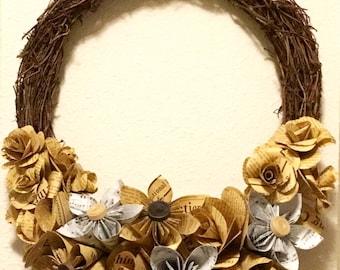 Paper Flowers Fall Wreath