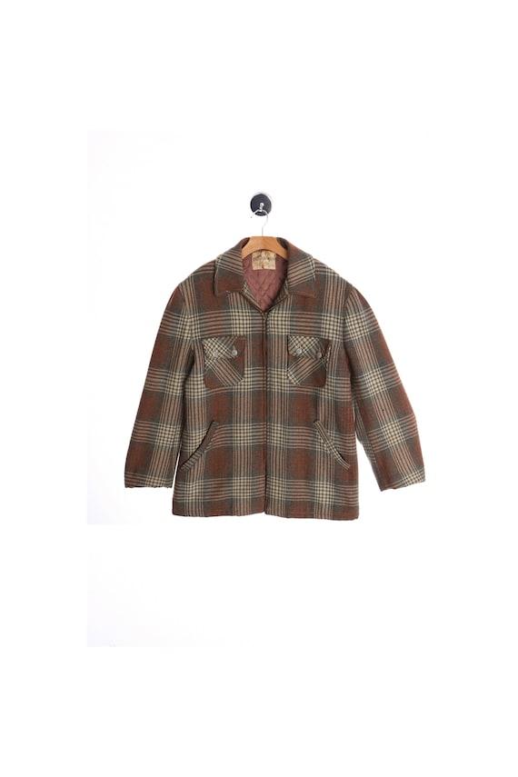 Vintage Men Chippewa Wool Plaid Zipper Jacket - (