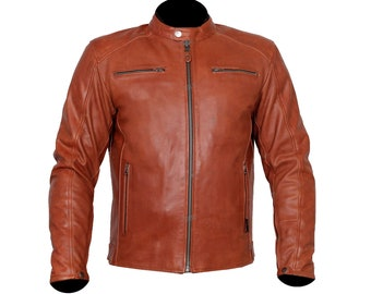 Men's Brown Genuine Leather Jacket Cowhide Men's Leather Jacket Slim Fit Lightweight Jacketx