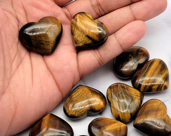Natural Tigers Eye Heart Tumbled Stones, Cleansed Polished Nuggets, Crystal Healing Natural Chakra Stones
