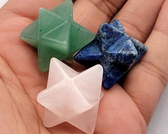 Merkaba Star Stone, Pink Rose Quartz Blue Lapis Lazuli Green Aventurine, Natural Polished Chakra Healing Stones, Cleansed