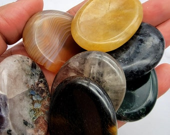 Palm Worry Stone, Cleansed Polished Nuggets, Crystal Healing Natural Chakra Stones